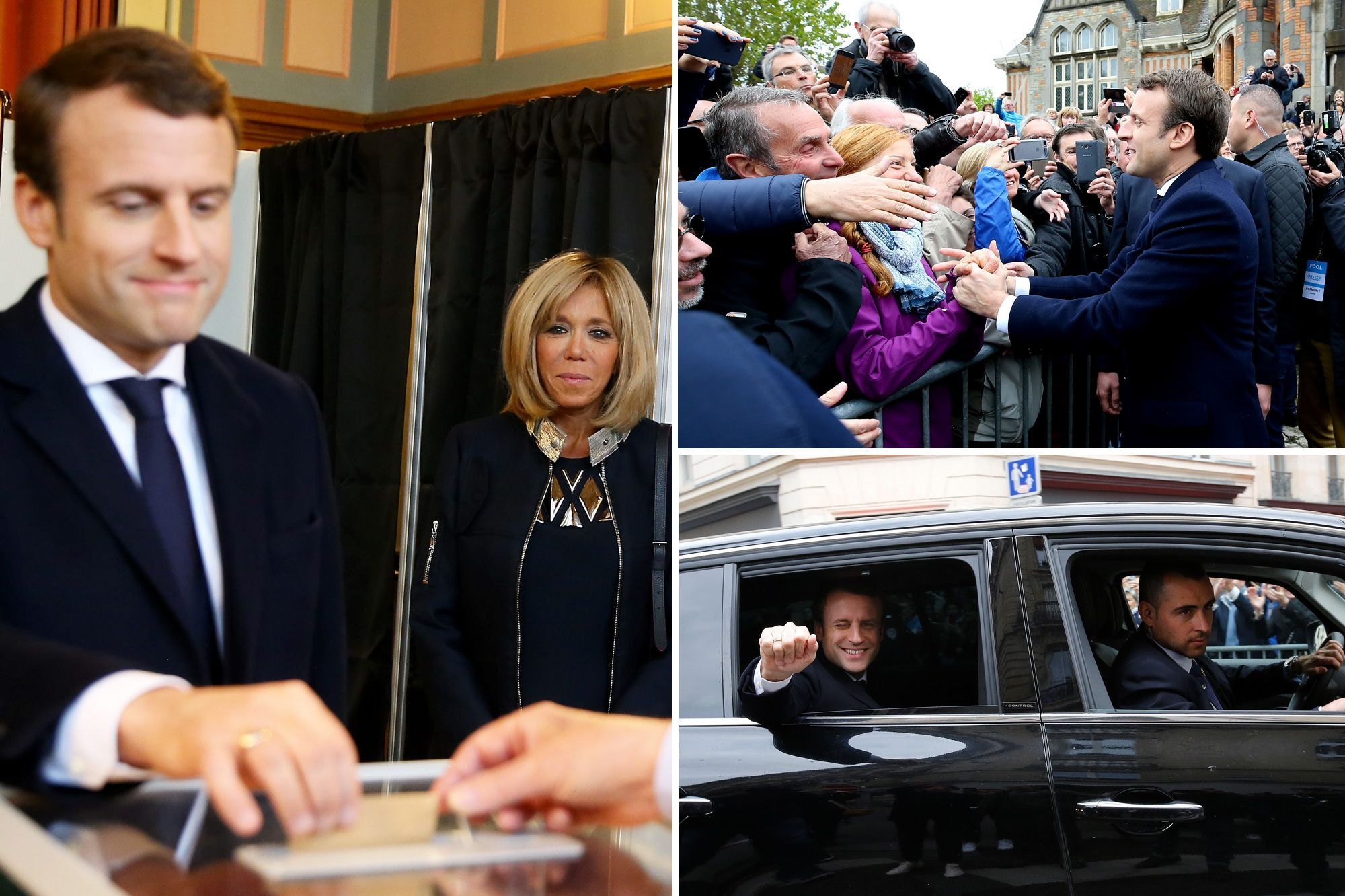 Jour de vote et jour de triomphe pour Emmanuel et Brigitte Macron