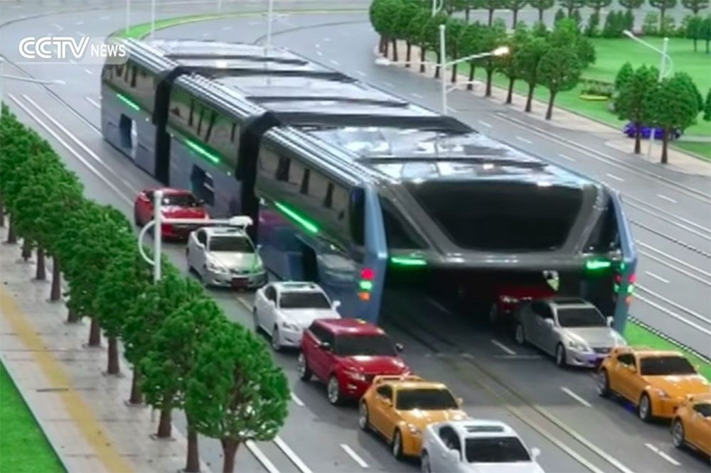 """Résultat de recherche d'images pour """"Chine, bus anti embouteillages"""""""