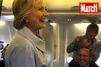 En campagne en avion avec Hillary Clinton
