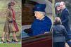 Elizabeth II à la messe à Sandringham, avec Kate et les Middleton