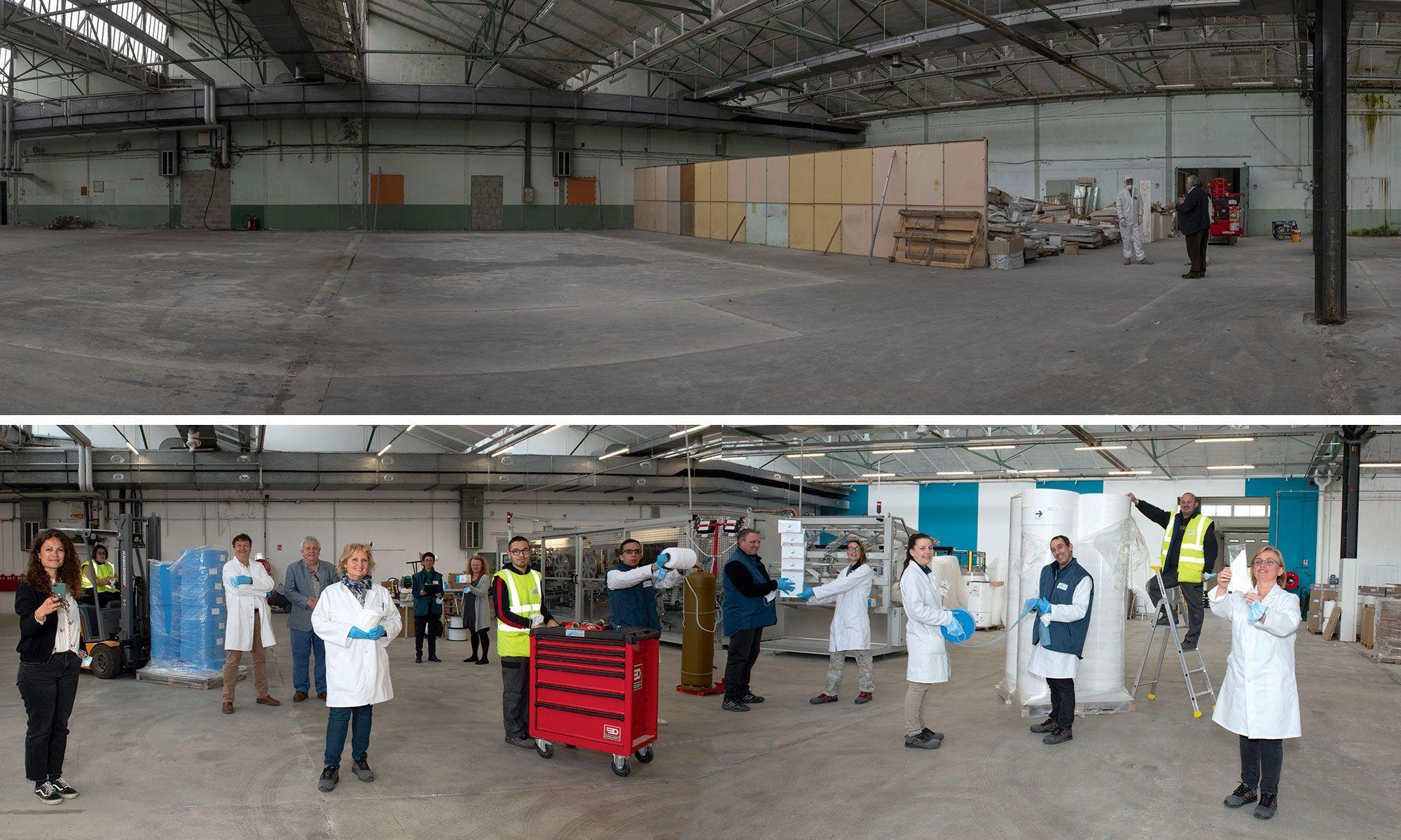 L'usine de la Coop des Masques en octobre 2020 et en avril 2021