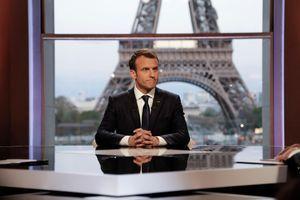 Emmanuel Macron lors de l'interview donnée pour ses un an à l'Elysée.