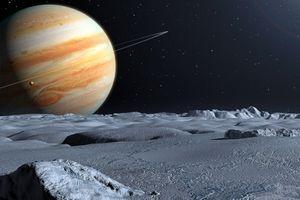 Vue d'artiste de la surface glacée d'Europe, l'un des satellites de Jupiter.