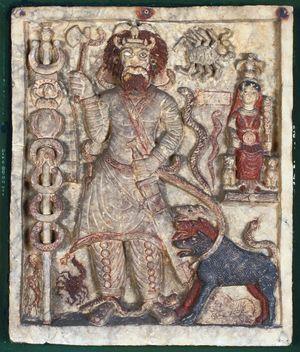 Le dieu Nergal, dieu des enfers, pièce originale prise en phot en 1998.