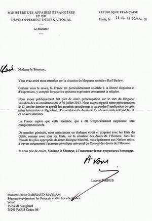 Lettre de Laurent Fabius à Ensaf Haidar.