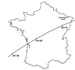 La carte décrivant la trajectoire SE-NO du débris de la fusée soviétique entre 18 h 59 et 19 h 01, du Golfe de Gascogne à l'Alsace. Mais les témoignages proviennent de toute la France et font état d'objets très proches, même dans des régions éloignées du passage de l'étage de la fusée.
