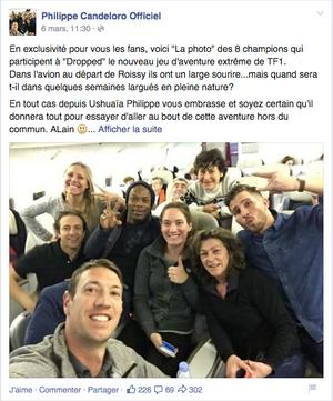 """Les huit sportifs français participants à """"Dropped"""" avant le début de l'aventure."""
