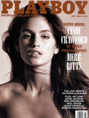 "Cindy en une de ""Playboy"" en 1988."