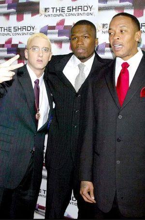Eminem, 50 Cent et Dr. Dre en 2004.