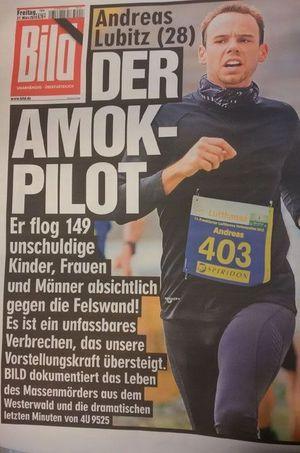 """La """"Une"""" du journal allemand """"Bild"""" vendredi 27 mars."""