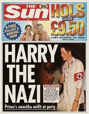 """""""Harry the nazi"""" en Une du """"Sun"""", en 2005"""