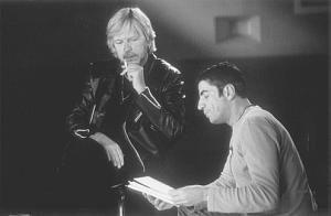 """Renaud et Didier Varrod lors du tournage du précédent documentaire, """"Rouge et le noir""""."""
