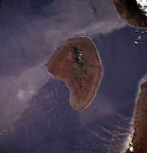 L'île de Lanai, sur une vue satellite de la Nasa prise en 1994.