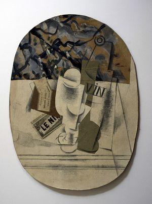 """Un collage aux racines du cubisme de Pablo Picasso, """"Nature Morte Verre"""""""