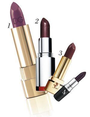 1 – Classic Cream Lipstick, Purple Pearl 330, Dolce & Gabbana 30 €. 2 – Joli Rouge Royal Plum, Clarins, 21,50 €. 3 – Rouge Pur Couture N° 54, Prune Avenue, Yves Saint Laurent, 30,50 €. 4 – Rouge Sweet Succulence, M.A.C. Cosmetics, 18 €.