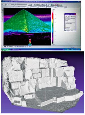La thermographie infrarouge permet d'identifier les différences de température sur la surface. Reconstitution en 3D de la face est de la pyramide de Kheops.