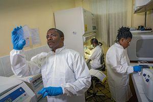 A Yaoundé, dans le laboratoire de virologie du Cremer, Avelin Aghokeng, chef du laboratoire de virologie VIH, analyse des fèces de singe pour identifier les virus.