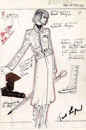 Un croquis de modèle pour la collection unisexe automne-hiver 1970-1971.