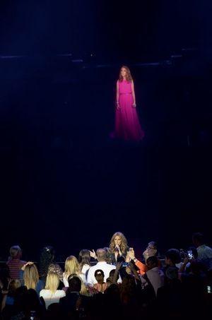 Le même soir, pendant un duo avec son propre hologramme, la chanteuse s'offre un bain de foule.