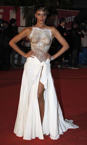Shy'm et la fameuse robe bustier Franck Sorbier, aux NRJ Music Awards.