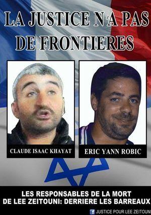 Voici une des affiches qui circulaient sur la page de soutien pour que justice soit faiteà Lee Zeitouni.