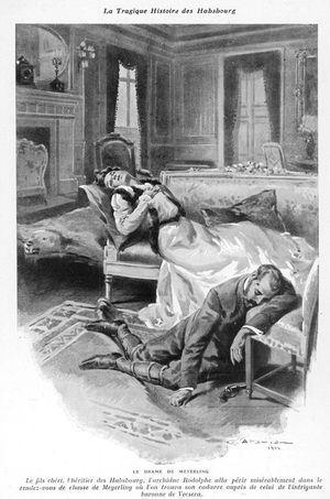 Gravure représentant le drame de Mayerling