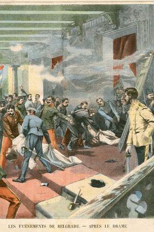 Assassinat du roi et de la reine de Serbie le 11 juin 1903. Gravure (détail)