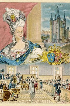Gravure montrant le procès de la reine Marie-Antoinette