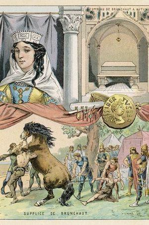 Gravure montrant le supplice de la reine Brunehaut