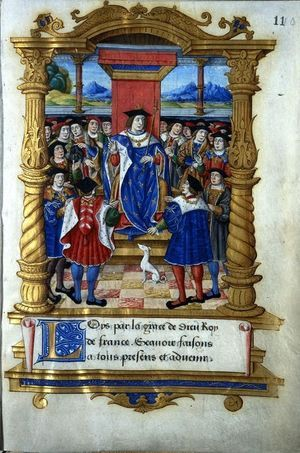 Louis XI. Enluminure du Livre des statuts de l'Ordre de St Michel, 1476
