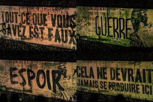 Sur l'écran géant de Bercy, des mots forts