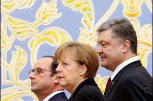 François Hollande, Angela Merkel et Petro Porochenko
