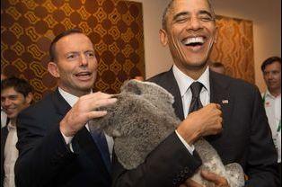 Barack Obama, Tony Abbott et Jimbelung