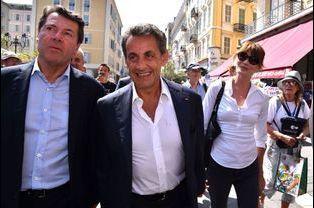 Christian Estrosi avec Nicolas Sarkozy et Carla Bruni