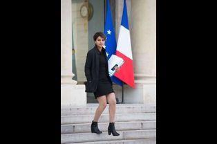 Najat Vallaud-Belkacem sur le perron de l'Elysée le 25 septembre