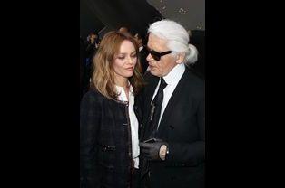 Avec Karl Lagerfeld au défilé Chanel en mars 2013