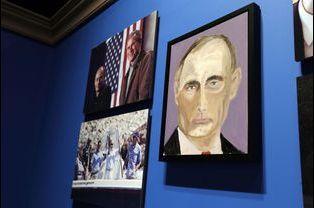 Vladimir Poutine peint par George W. Bush, sur une peinture exposée en avril 2014