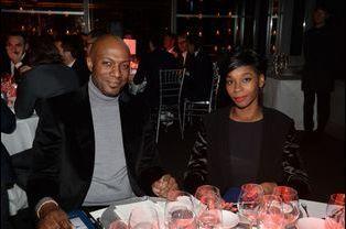 Harry Roselmack et sa femme au dîner de gala de la Fondation PSG