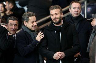 Nicolas Sarkozy et David Beckham à Paris le 17 février 2015