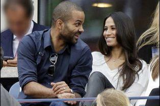 Tony Parker et son épouse Axelle Francine, à la finale de l'US Open à New York, le 8 septembre 2014.