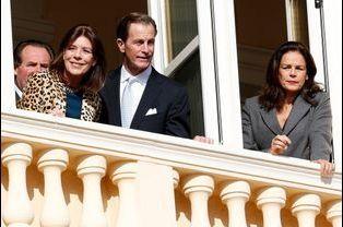Caroline et Stéphanie de Monaco et leur cousin Christopher Levine à Monaco, le 7 janvier 2015