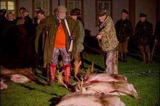 Le prince Henrik de Danemark à la chasse au château de Fredensborg, le 27 novembre 2014