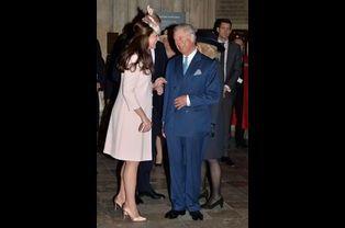 Kate et le prince Charles à l'abbaye de Westminster à Londres, le 9 mars 2015