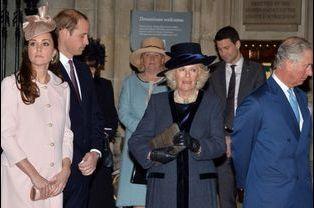 Les princes William et Charles avec Kate et Camilla à l'abbaye de Westminster à Londres, le 9 mars 2015