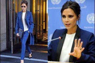 La styliste et femme de David Beckham, Victoria Beckham, en smoking bleu électrique pour son premier discours à l'Onu le 25 septembre 2014 en tant...