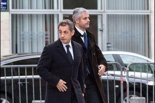 Nicolas Sarkozy et Laurent Wauquiez aux obsèques de Jacques Barrot à Paris