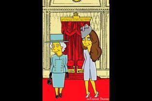 """La duchesse Kate et la reine Elizabeth """"simpsonisées"""""""