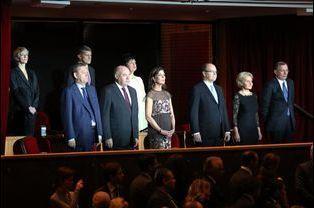 Le prince Albert de Monaco et la princesse Caroline de Hanovre lancent l'année de la Russie à Monaco, le 19 décembre 2014