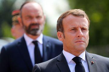 Emmanuel Macron et Edouard Philippe au Mont-Valérien, jeudi matin.