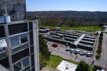 Vue de l'EMR installé près de l'hôpital de Mulhouse, lundi 23 mars.